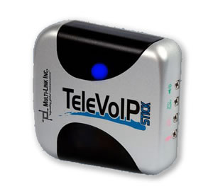 The TeleVoIP Stick lets you to access Voice over Internet Protocol technology with your existing phones.